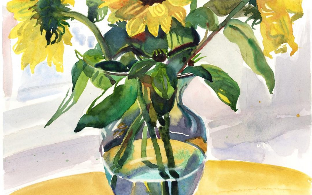 Staccato in Yellow's & Greens – watercolor floral painting