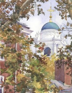 Standish Cupola Winthrop House Harvard - watercolor landscape painting of architecture building by Frank Costantino