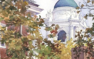 Standish Cupola, Winthrop House, Harvard – watercolor landscape painting with architecture and building