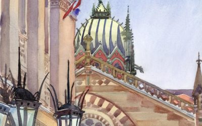 Steeple & Lanterns – Old South Church and Boston Public Library – watercolor landscape painting of buildings