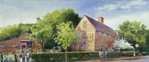 Strawberry Festival - en plein air watercolor landscape building painting by Frank Costantino