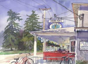 Summer's Welcome Respite - en plein air watercolor landscape painting of store building by Frank Costantino