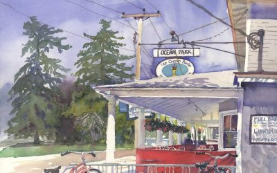 Summer's Welcome Respite – en plein air watercolor landscape painting of store building