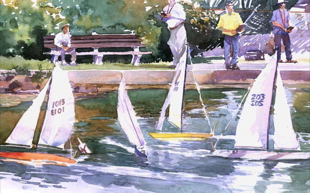 Sunday Races at Redd's Pond – en plein air watercolor landscape painting