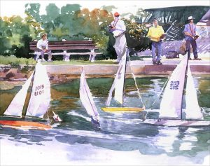 Sunday Races at Redd's Pond - en plein air watercolor landscape painting by Frank Costantino