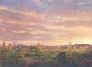 Sunset Symphony in Sea Marsh - en plein air watercolor seascape painting by Frank Costantino