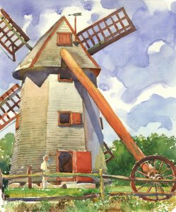 Symbol of Another Time - en plein air watercolor landscape building painting by Frank Costantino