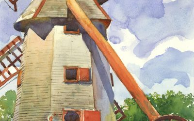 Symbol of Another Time – en plein air watercolor landscape building painting