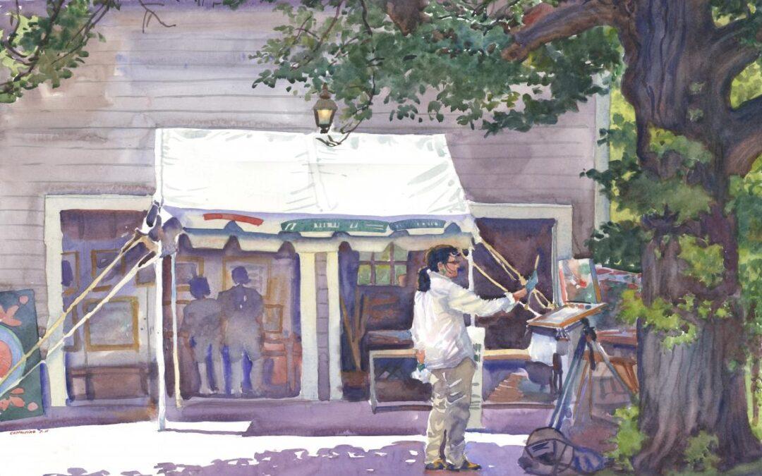 Taking an Artist's Measure - en plein air watercolor figure painting by Frank Costantino