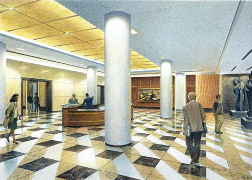 Terrell Place, Main Lobby, Washington D.C. – colored pencil architectural illustration rendering by Frank Costantino