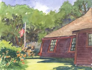 Tiltings of Time - en plein air watercolor landscape building painting by Frank Costantino
