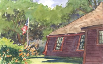 Tiltings of Time – en plein air watercolor landscape building painting