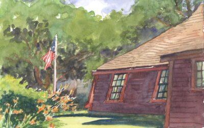 Tiltings of Time – en plein air watercolor landscape building painting