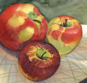 Trio for Pie - watercolor still life painting by Frank Costantino