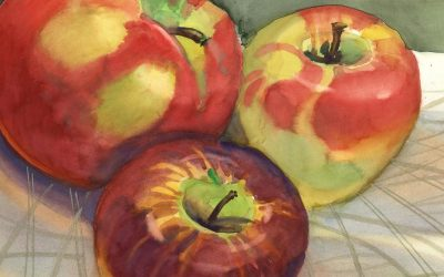 Trio for Pie – watercolor still life painting