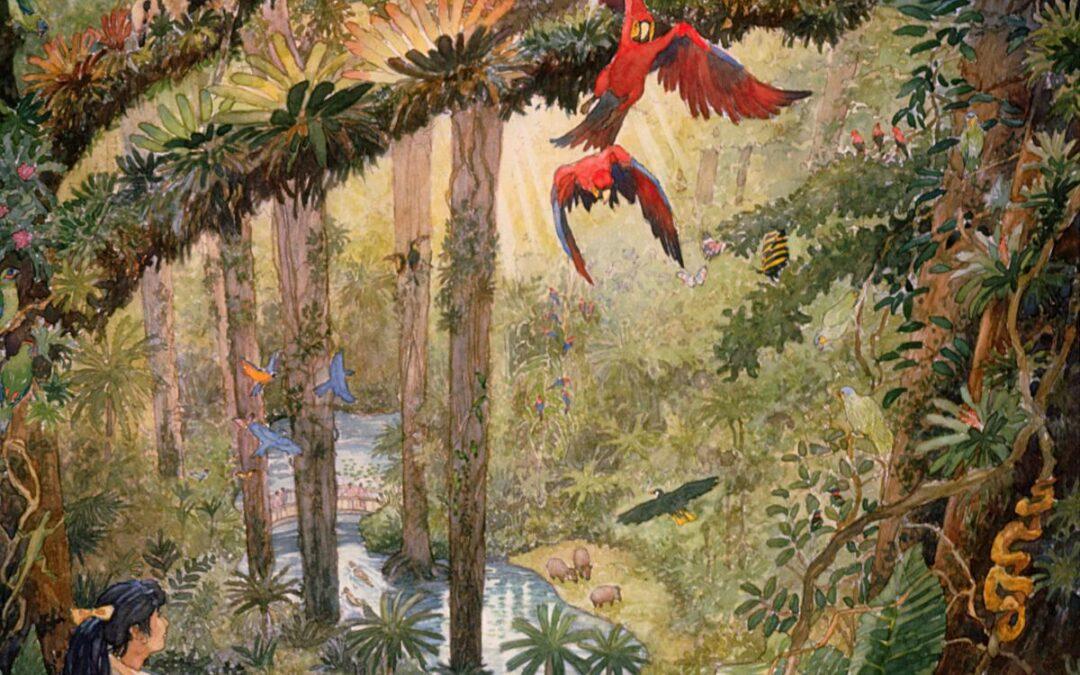Tsuruhama Rainforest Pavillion – watercolor landscape illustration painting