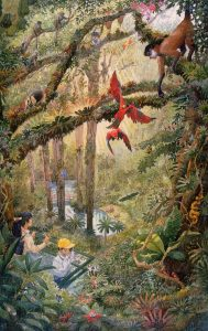 Tsuruhama Rainforest Pavillion - watercolor landscape illustration painting by Frank Costantino