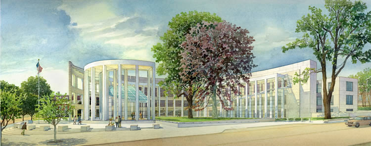 U.S. Federal Courthouse, Springfield MA – watercolor architectural illustration rendering by Frank Costantino