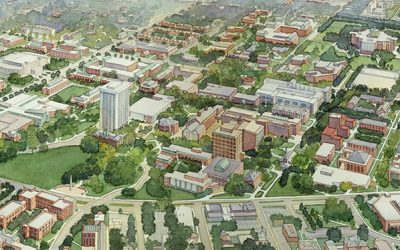 University of Kentucky, Master Plan, Lexington, KY – watercolor architectural illustration rendering