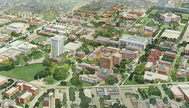 University of Kentucky, Master Plan, Lexington, KY - watercolor architectural illustration rendering by Frank Costantino