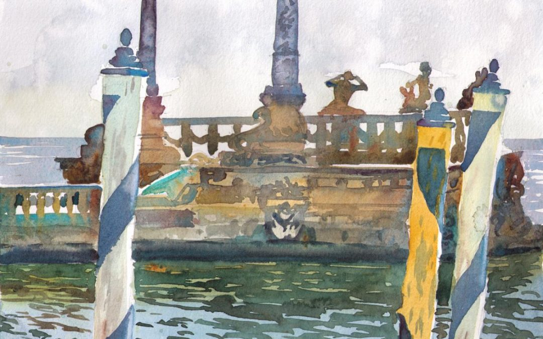 Vizcaya Ventian Barge – en plein air watercolor landscape painting
