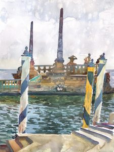 Vizcaya Ventian Barge - en plein air watercolor landscape painting by Frank Costantino