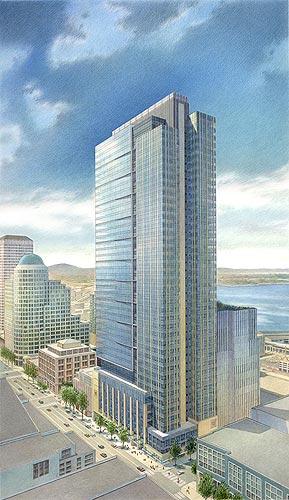 WaMu Center, Seattle, WA – colored pencil architectural illustration rendering