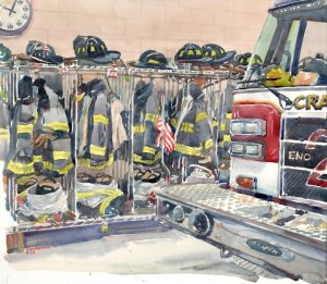 Waiting for the Call - watercolor painting of fire engine by Frank Costantino