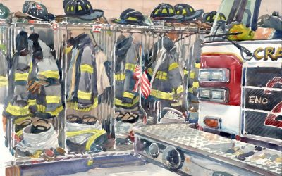 Waiting for the Call – watercolor painting of fire engine