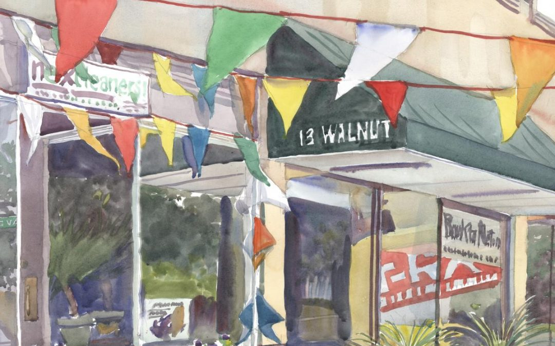 Walnut's Banners – en plein air watercolor urban street scene painting