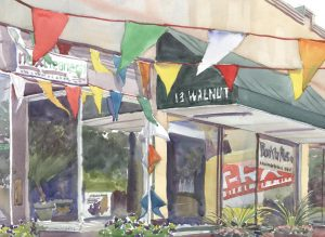 Walnut's Banners - en plein air watercolor urban street scene painting by Frank Costantino