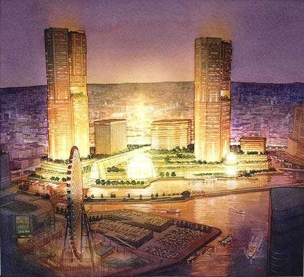 Waterfront Master Plan Proposal, Yokohama, Japan – watercolor architectural illustration rendering