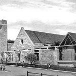 WestSide Presbyrterian Church - black and white pencil architectural illustration rendering by Frank Costatino