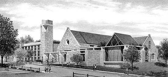 Westside Presbyterian Church – black & white pencil architectural illustration