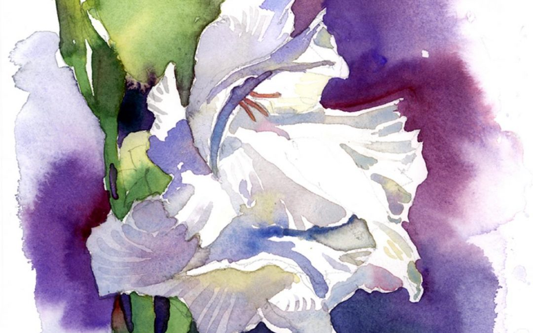 White Gladiolus – watercolor floral painting