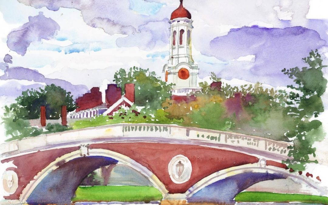 Wind Over the Charles – en plein air watercolor landscape painting