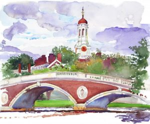 Wind Over the Charles - en plein air watercolor landscape painting by Frank Costantino