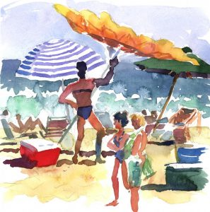 Windblown on Surfside - en plein air watercolor seascape beach scene painting by Frank Costantino.