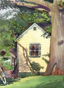 Yellow Garden Shed - en plein air watercolor landscape building painting by Frank Costantino