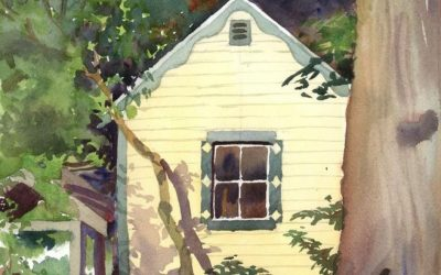 Yellow Garden Shed – en plein air watercolor landscape building painting