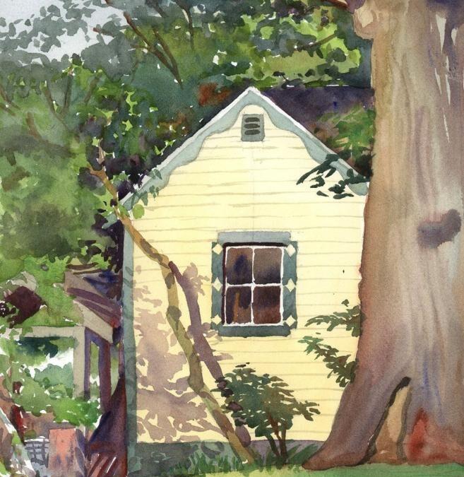 Yellow Garden Shed – en plein air watercolor landscape building painting