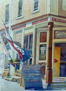 Castines Corner Store - en plein air watercolor landscape painting of building by Frank Costantino