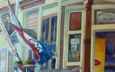 Castine's Corner Store – en plein air watercolor landscape building painting